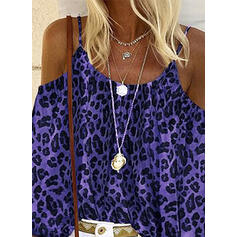 Leopard Cold Shoulder Flare Sleeve Long Sleeves Casual Blouses