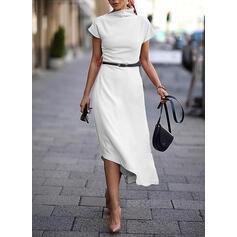 Einfarbig Kurze Ärmel A-Linien Freizeit Midi Kleider