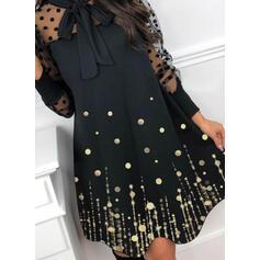 Sequins/PolkaDot Long Sleeves A-line Above Knee Elegant Skater Dresses