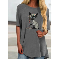 Print Round Neck 1/2 Sleeves Casual T-shirts