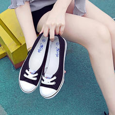 Women's Canvas Flat Heel Flats With Lace-up shoes