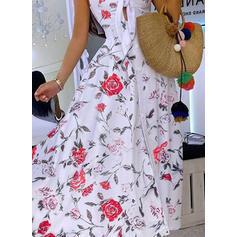 Impresión/Floral Sin mangas Acampanado Camisón/Patinador Casual/Vacaciones Maxi Vestidos