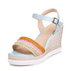 Frauen PU Keil Absatz Sandalen Keile Peep Toe Slingpumps mit Geflochtenes Band Schuhe