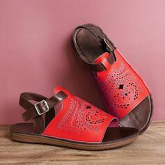 Femmes PU Talon plat Sandales À bout ouvert avec Boucle Ouvertes chaussures
