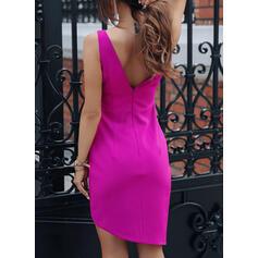 Solid Sleeveless Bodycon Asymmetrical Little Black/Party Dresses