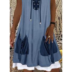 Colorido Sem mangas Vestidos soltos Comprimento do joelho Casual Vestidos