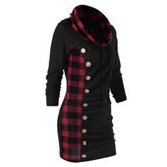 Plaid Long Sleeves Bodycon Above Knee Casual Dresses