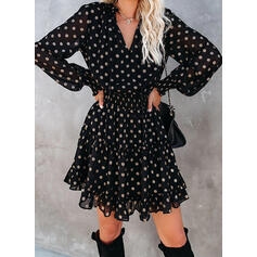 PolkaDot Long Sleeves/Lantern Sleeve A-line Above Knee Casual Skater Dresses