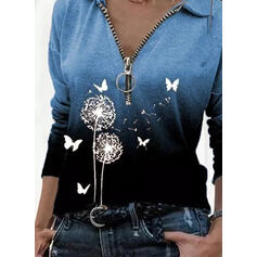 Animal Print Dandelion Lapel Long Sleeves Casual Blouses