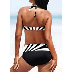 Rand Hög Midja Tryck Grimma V-ringning Sexig Vintage Extra stor storlek bikini Badkläder