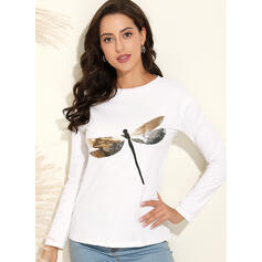 Animal Print Sequins Round Neck Long Sleeves Casual T-shirts