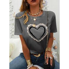Print Pailletten Hart Ronde Hals Korte Mouwen Casual T-shirts