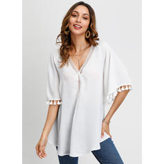Solid V Neck 1/2 Sleeves Casual Elegant Blouses
