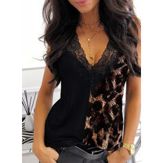 Leopardo Encaje Cuello en V Sin mangas Camisetas sin mangas