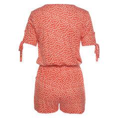 Print V-Neck Short Sleeves Casual Vacation Romper