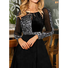 Sequins Long Sleeves A-line Above Knee Party Skater Dresses