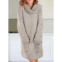Solid Chunky knit Pocket Turtleneck Sweater Dress
