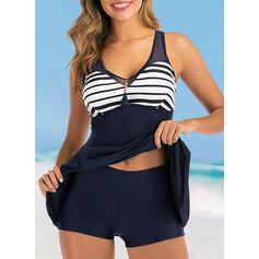 Stripe V-Neck Elegant Cute Swimdresses Swimsuits