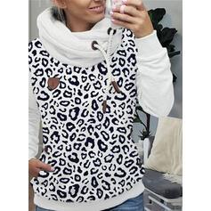 leopardo Maniche lunghe con cappuccio