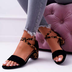 Women's Suede Chunky Heel Sandals Pumps Peep Toe Heels With Buckle Animal Print shoes