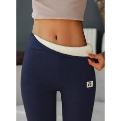 Solid Cotton Long Casual Plus Size Pants Leggings