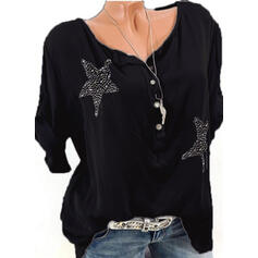 Solid Sequins V-neck 1/2 Sleeves Button Up Casual Knit Blouses