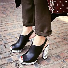 Femmes Similicuir Talon bottier Sandales Escarpins Plateforme À bout ouvert avec Talon de bijoux chaussures