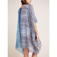 Stripe Round Neck Bohemian Cover-ups Swimsuits