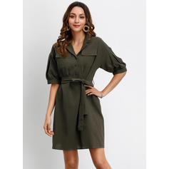 Solid 1/2 Sleeves A-line Above Knee Casual Dresses