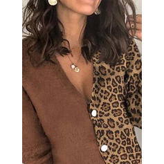 Color Block Leopard V-Neck Casual Cardigan