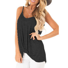 Solid Spaghetti Strap Sleeveless Casual Tank Tops
