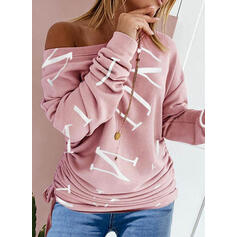 Print Figure Round Neck Long Sleeves Casual Blouses