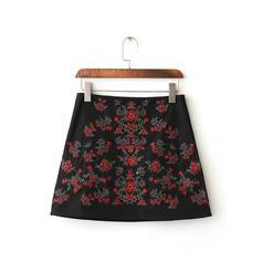 Baumwolle Bestickt Mini A-Linie Röcke