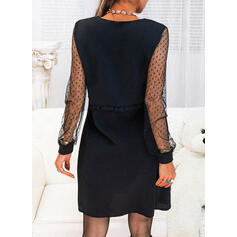 Couleur Unie Manches Longues Droite Longueur Genou Petites Robes Noires/Décontractée Tunique Robes