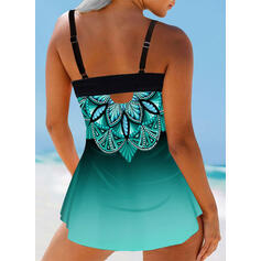 Floral Print Strap V-Neck Plus Size Boho Swimdresses Swimsuits