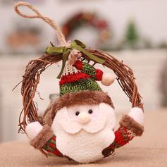 Snowman Reindeer Santa Christmas Hanging Wicker Non-Woven Fabric Christmas Wreath