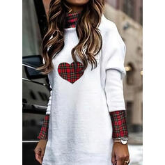 Plaid/Heart Long Sleeves Shift Above Knee Casual Tunic Dresses