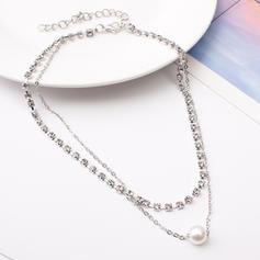 Güzel alaşım Taslar Faux Pearl Ile Yapay elmas Kadın Moda Kolye (Tek parça Satılan)