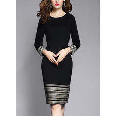 Solid Long Sleeves Sheath Knee Length Little Black/Casual/Elegant Dresses