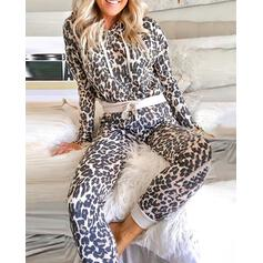 Hooded Long Sleeves Leopard Sexy Top & Pants Sets