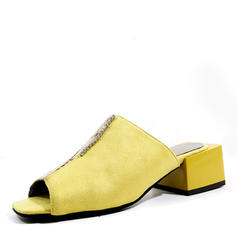 Women's Suede Chunky Heel Sandals Pumps Peep Toe shoes