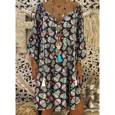 Print Long Sleeves Shift Knee Length Casual/Vacation Dresses