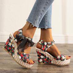 Donna Panno Zeppe Sandalo con Bowknot Allacciato scarpe