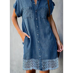 Lace/Solid Short Sleeves Shift Above Knee Casual/Denim Dresses