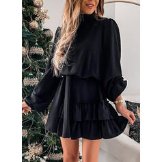Solid Long Sleeves A-line Above Knee Little Black/Elegant Skater Dresses