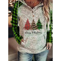 Weihnachten Druck Leopard Kariert Buchstaben Lange Ärmel Weihnachts-Sweatshirt