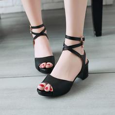 Kvinder PU Stor Hæl sandaler Pumps Kigge Tå med Blondér sko