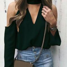 твердый Холодный прием Длинные рукова Повседневная элегантный Блузы