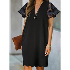 Solid Short Sleeves Shift Knee Length Little Black/Casual Tunic Dresses