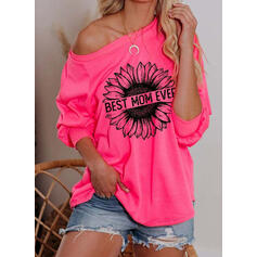 Inmprimé Floral One Shoulder Manches longues Sweat-shirts